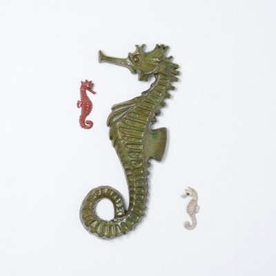 Set of 3 Seahorse Ceramic Wall Sculptures by Amphora