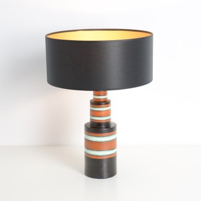 Art Deco Polychrome Earthenware Table Lamp for Boch Keramis