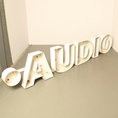 'Audio' advertising sign / letters