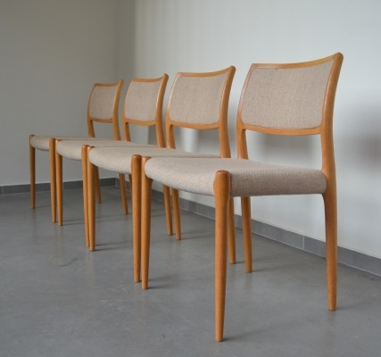 4 x Model 80 dining chair by Niels O. Møller for JL Møllers Møbelfabrik, 1950s