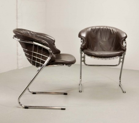 Pair of Italian Chrome Steel 'Flynn' Dining Chairs by Gastone Rinaldi for RIMA, 1970s