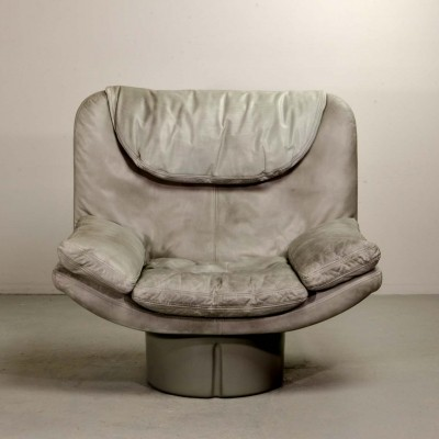 Italian Grey Leather Lounge Chair by Ammanati & Vitello, 1970s