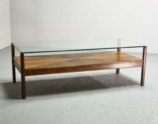 Dutch Design Rosewood Coffee Table with Glass Top for Fristho, 1960s