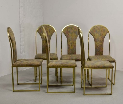Set of Six Luxurious Brass Dining Chairs by Belgo Chrome, 1970s