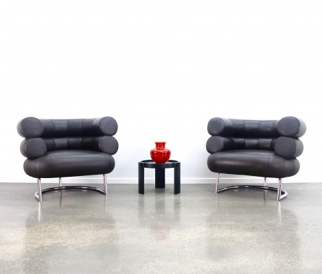 Pair of Eileen Gray 'Bibendum' chairs in dark brown leather, 1990s