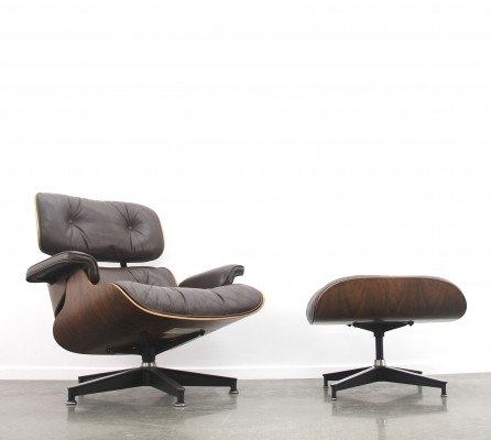 Eames lounge chair + ottoman in dark rosewood/brown leather
