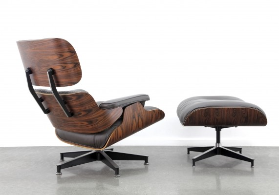 Eames lounge chair + ottoman in brown/grey leather & rosewood