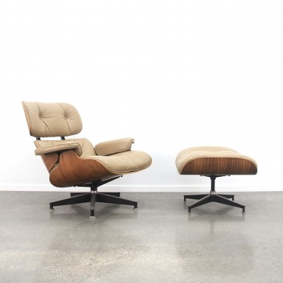 Eames lounge chair + ottoman in caramel/mokka leather & rosewood