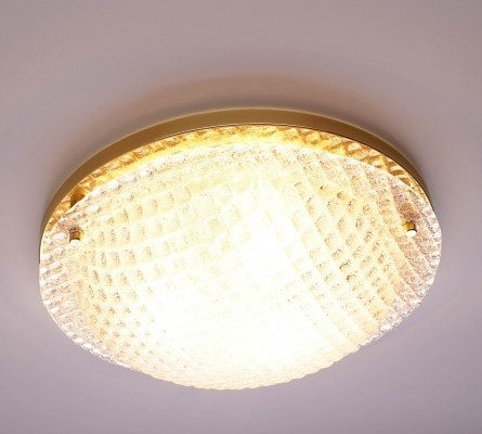Large Textured Glass Flush Mount by Fischer Leuchten