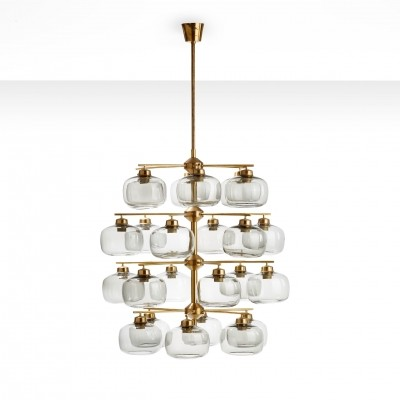 Holger Johansson Chandelier with 24 Smoked Glass Shades, Sweden