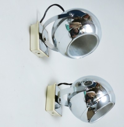 Pair of Chrome ball lamps, 1970s