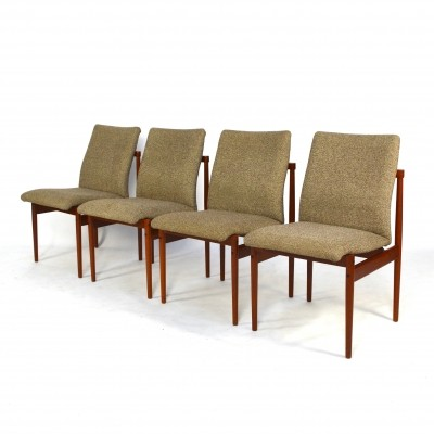 Set of 4 dining chair in Teak & Fabric by Thereca, 1950s