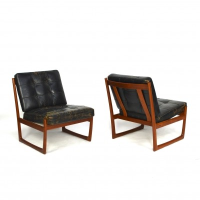 Pair of FD130 lounge chairs by Peter Hvidt & Orla Mølgaard Nielsen for France & Son, 1950s