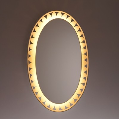 Oval Illuminated Mirror by Ernest Igl for Hillebrand