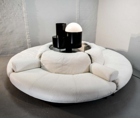 White Leather Round Sectional Italian Lounge Sofa, 1970s