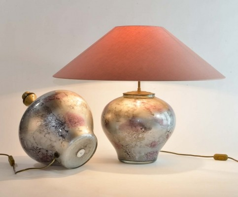 Exclusive Lilac Silver Pair of French Art Glass Laque Line Table Lamps, 1970s
