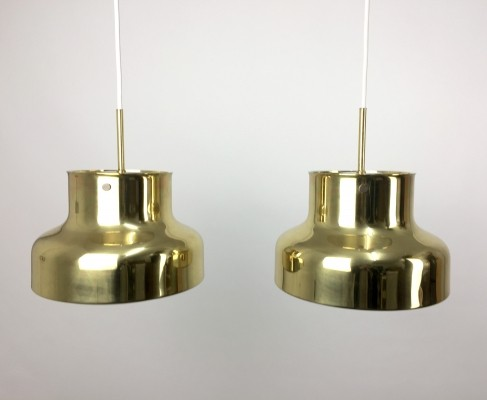 Pair of brass Bumling hanging pendant lamps by Anders Pehrson for Ateljé Lyktan