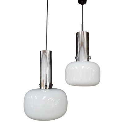 Pair of Glashutte pendant lamps, Germany 1970s