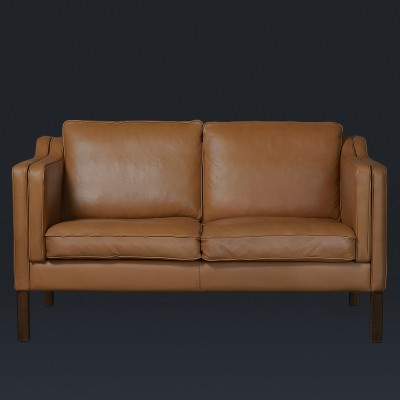 Leather two-seat sofa by Mogens Hansen, 1980s