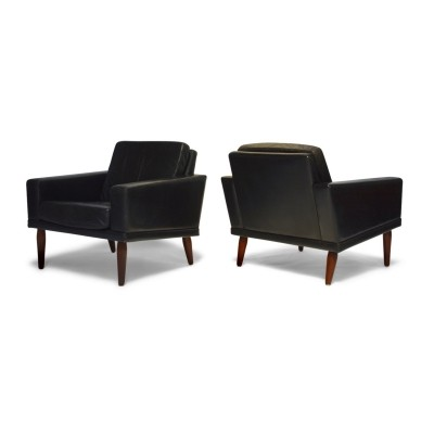 Pair of Black Leather & Rosewood Lounge Chairs by Bovenkamp, 1960s