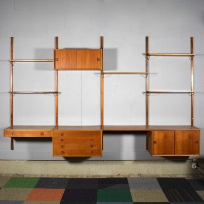 Scandinavian teak wall unit, 1960s