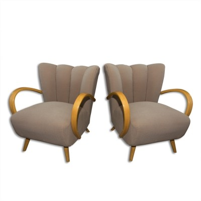 Pair of cocktail bentwood armchairs, 1940's