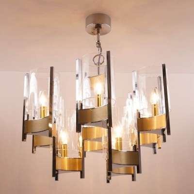 Chrome & Brass Chandelier from Sciolari