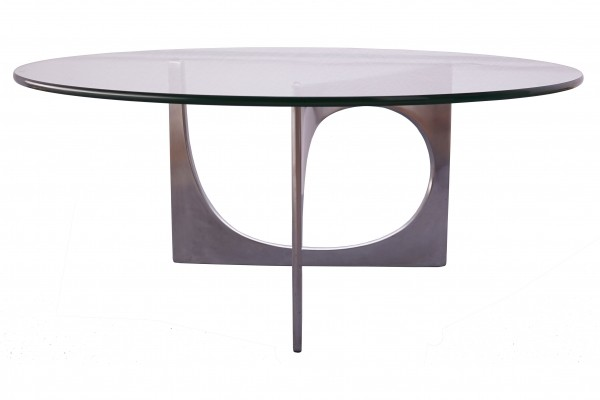 Glass & Aluminium Coffee Table by Knut Hesterberg