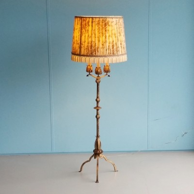 Mid-century Gilt Metal Floor Lamp with Faux Candles