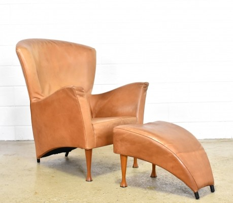 Cognac leather 'Castor' lounge chair with footstool by Gijs Papavoine for Montis