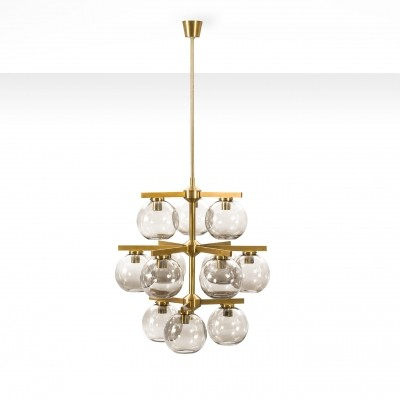 Holger Johansson chandelier with 12 smoke glass shades, Sweden 1960s