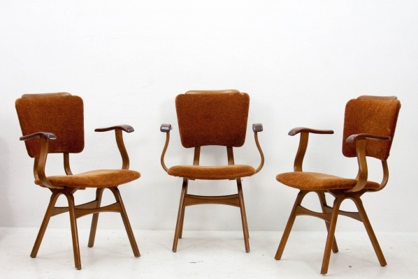 Set of 3 vintage arm chairs, 1950s