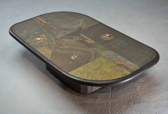 Mid-Century Brutalist Slate Stone Coffee Table 1970s