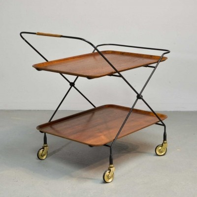 Minimalistic Mid-Century 1950s Teak & Steel Tea Trolley by Paul Nagel