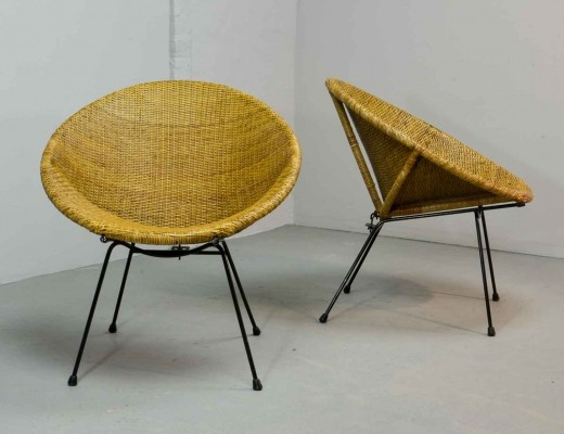 Pair of Circle Shaped Rattan Side Chairs by Dirk van Sliedregt for Rohé, 1950s