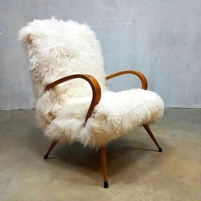 Sheepskin fur armchair, 1950s