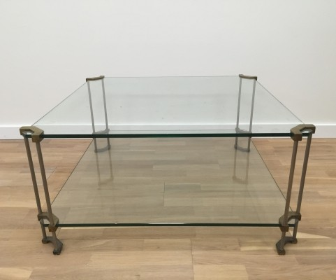 Glass, brass & steel framed square Peter Ghyczy coffee table