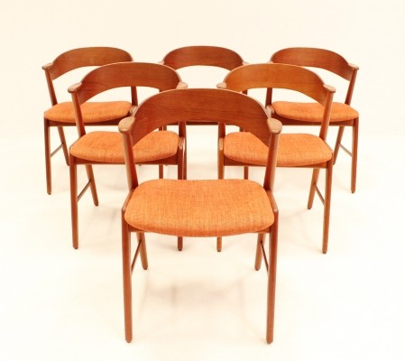 Set of 6 dinner chairs by Kai Kristiansen for Korup Stolefabrik, 1950s