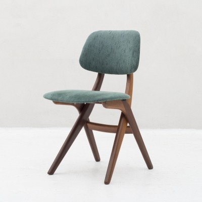 Side 'scissor' chair in teak by Louis van Teeffelen for Wébé, Dutch design 1950s