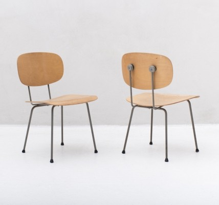 2 'model 116' Side chairs in beech by Wim Rietveld for Gispen, 1953