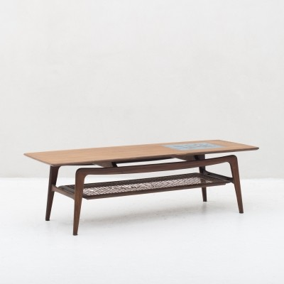 Coffee table in teak by Louis van Teeffelen for Wébé, tile by Jaap Ravelli