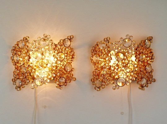 Pair of Cristal encrusted wall lights by Palme & Walter for Palwa, 1970s