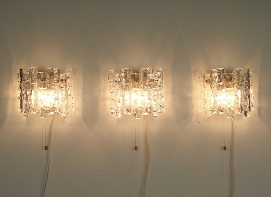 3 x Ice glass wall lamp by JT Kalmar for Kalmar, 1970s