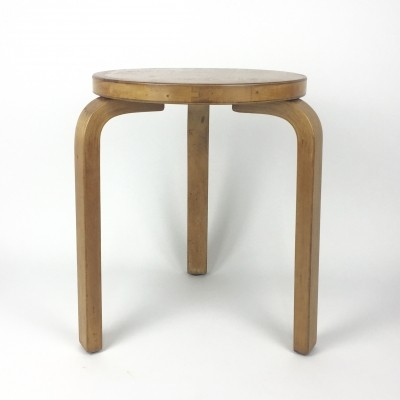 Original Alvar Aalto Model 60 stool, labelled Finmar