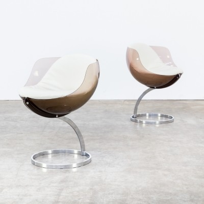 70s Boris Tabacoff 'sphere' chairs for Mobillier Modulaire Modern set/2