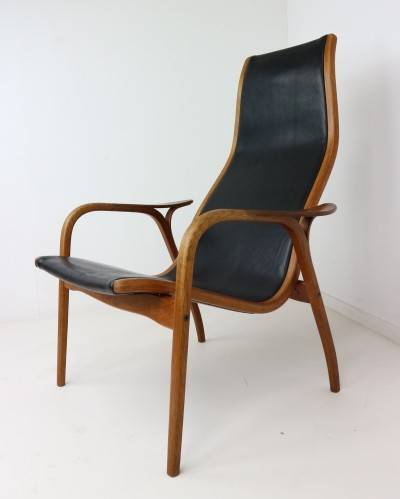 Ingve Ekstrom 'Lamino' Easychair in Teak & Leather, 1956
