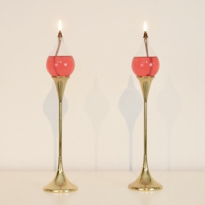 A pair of Seventies design brass oil lamps model 'Clear drops' by Freddie Andersen