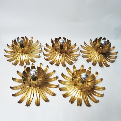5 x Flower wall lamp by Maison Jansen, 1960s