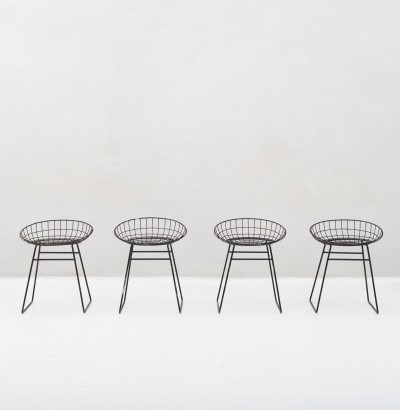 Set of 4 'model KM05' wire stools by Cees Braakman for Pastoe, 1953