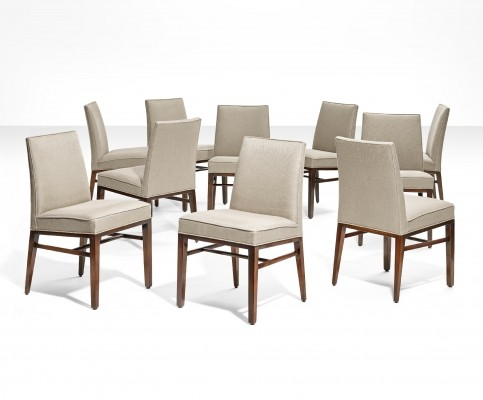 10 Dining chairs by Edward J. Wormley, Dunbar, ca 1950s